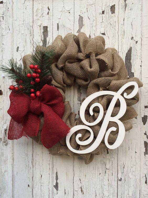 #SEGUNDA NATALINA - Guirlandas com Iniciais e Letras decoradas de Natal