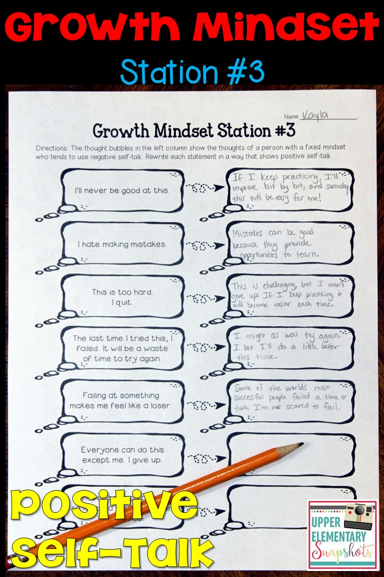 worksheet Growth Mindset Worksheet upper elementary snapshots foster growth mindsets with free 1 of 4 mindset learning centers students explore how to replace the negative