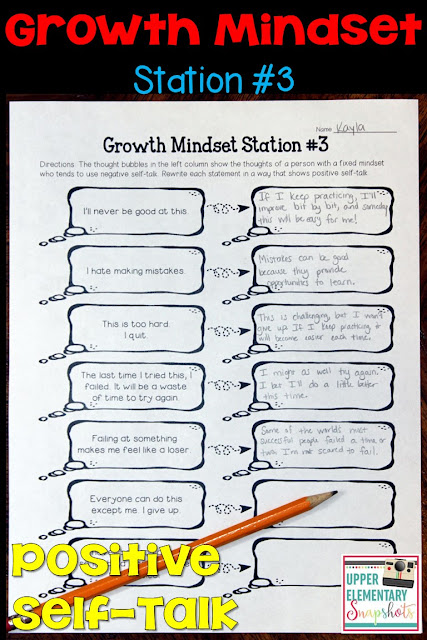 1 of 4 FREE growth mindset learning centers! Students explore how to replace the negative self-talk associated with fixed mindsets with the positive self-talk associated with growth mindsets.