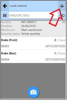 Load material in work order