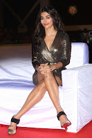 Pooja Hegde looks glamarous in deep neck sleevless short tight golden gown at Duvvada Jagannadham thank you meet function 072.JPG