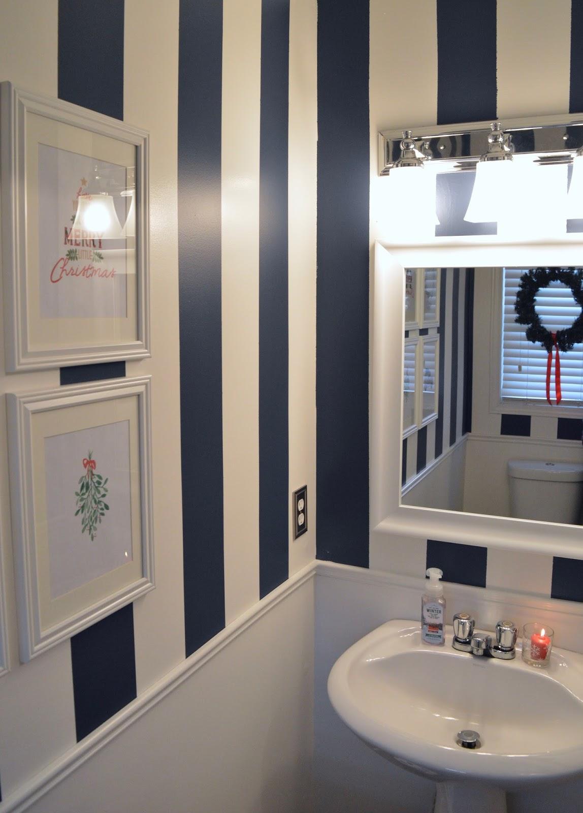 Navy Stripe Powder Room