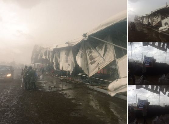 President Zuma scampers as storm wrecks havoc on his tent at an event