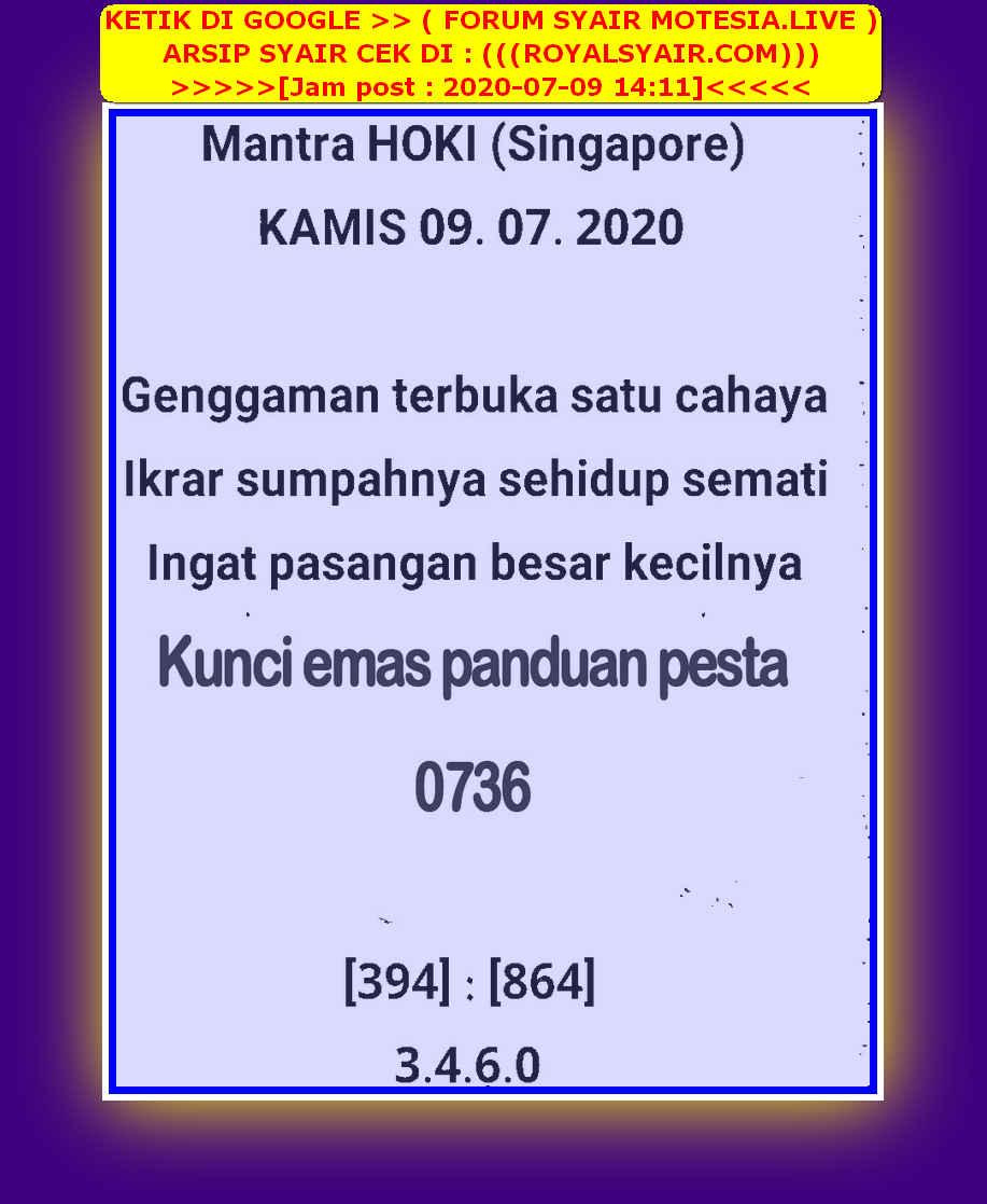 Kode syair Singapore Kamis 9 Juli 2020 26
