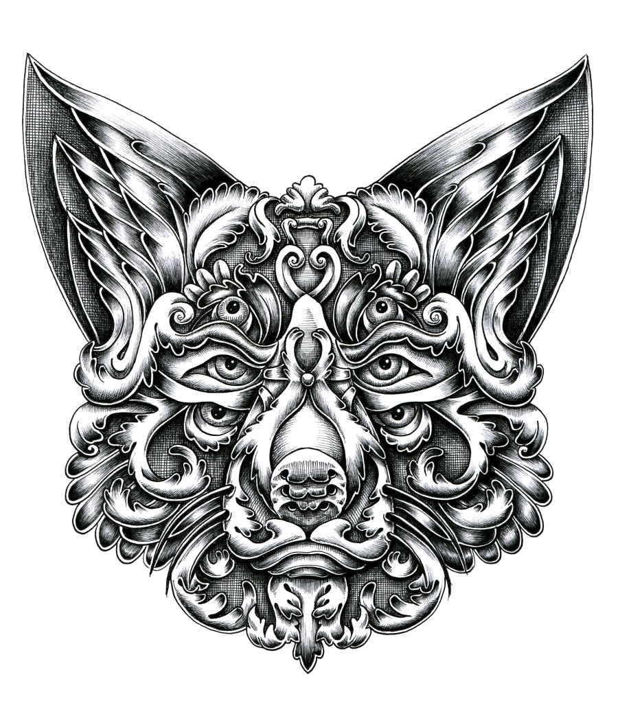 06-Fox-Alex-Konahin-Ornate-Details-in-Animal-Drawings-www-designstack-co