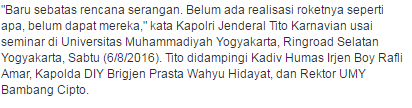 Inilah Penjelasan Kapolri Jenderal Tito Karnavian Terkait Dengan Rencana 6 Terduga Teroris yang Akan Menyerang Marina Bay (Singapura) - Commando