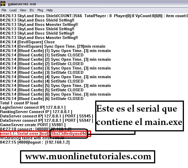 Verificación de error de serial en la consola del gameserver