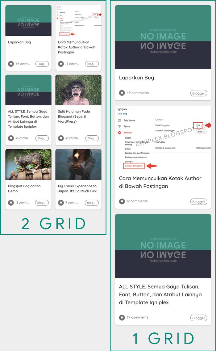 Tema Blogspot Tampilan Grid