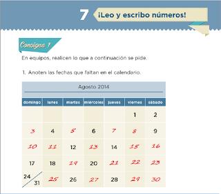Lección 7 Leo y escribo Numeros Matematicas, primer grado contestada