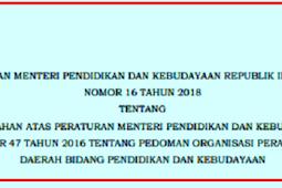 Permendikbud No 16 [Tahun] 2018 (Tentang) Pedoman ORGANISASI PERANGKAT DAERAH BIDANG Pendidikan & KEBUDAYAAN