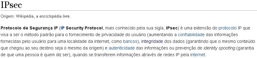 IPsec Segundo Wikipedia - Definição