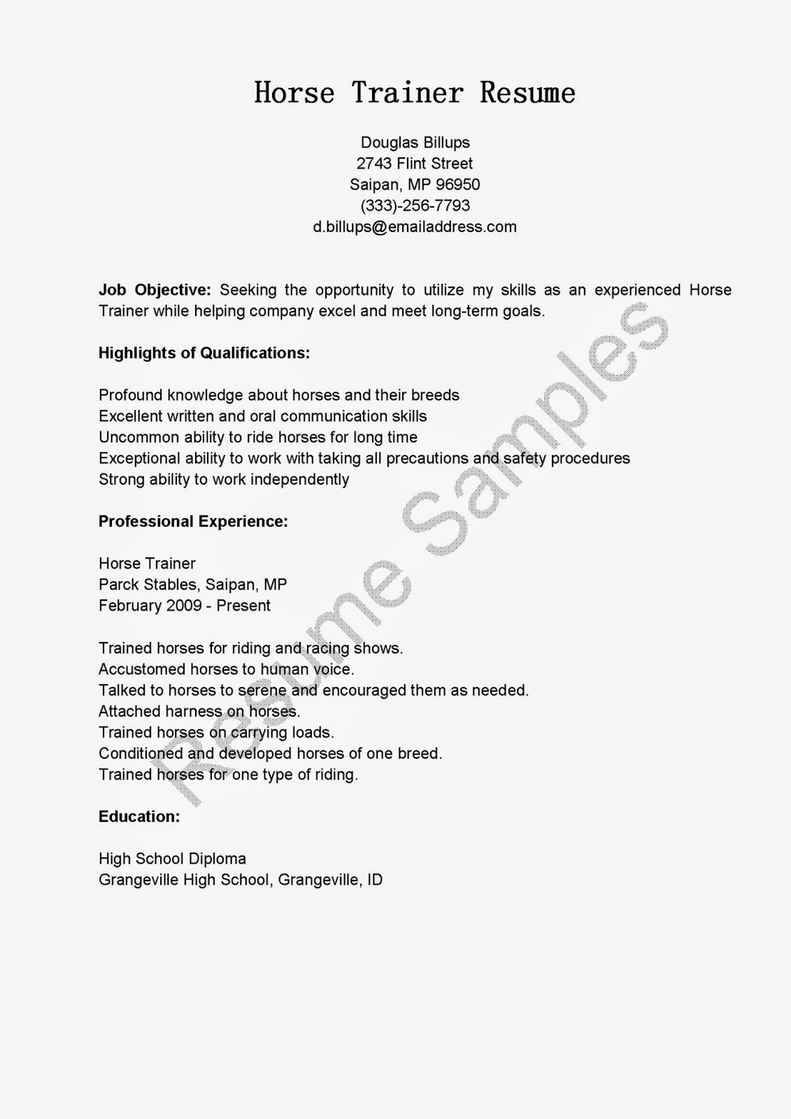 Sample Trainer Resume Resume Samples Horse Trainer Resume Sample