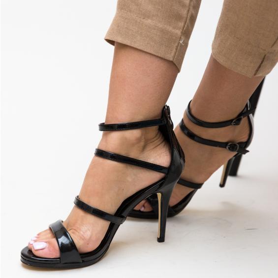 Sandale negre elegante de zi si ocazii cu toc inalt piele lacuita ieftine