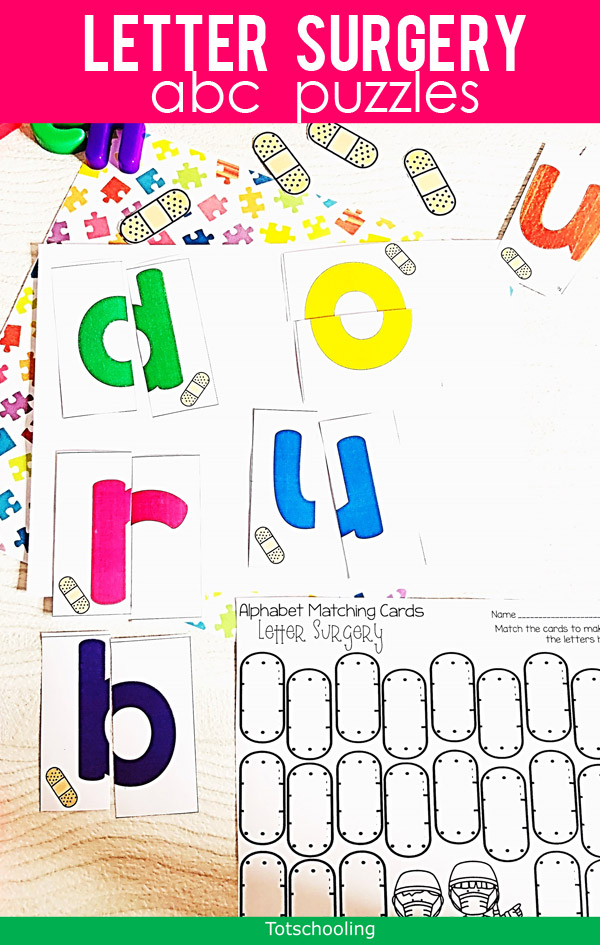 "FREE printable Lowercase Letter puzzles for pre-k and kindergarten kids to practice letter recognition. A fun ""surgery"" theme with band-aids is perfect for an occupation, doctor or community helper theme. Great for year-round alphabet learning!"