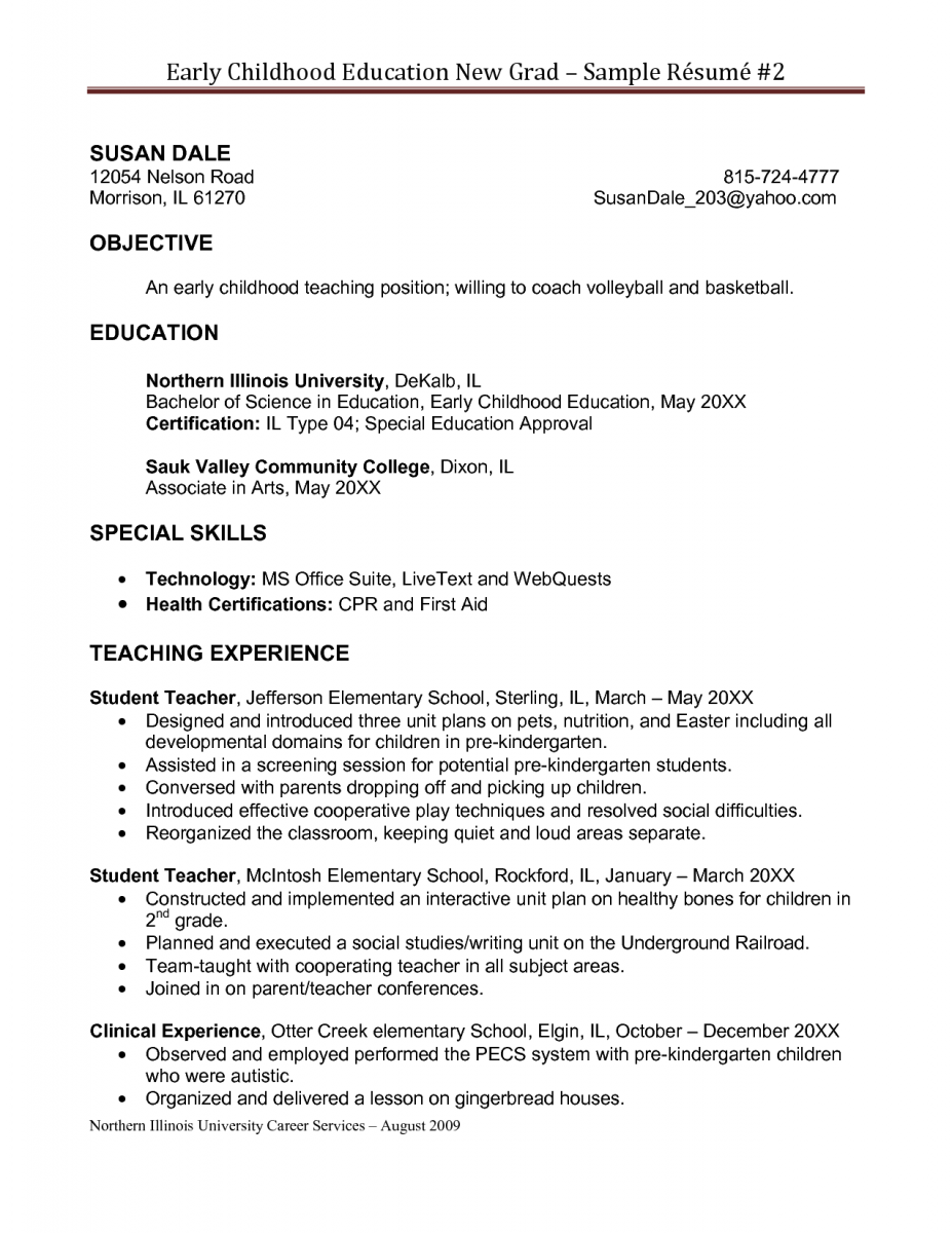 resume for education early childhood education resume sles sle resumes - Resume Templates For Educators
