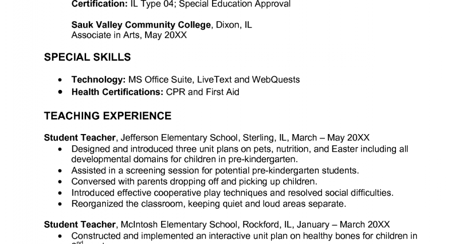 free sample resume early childhood education