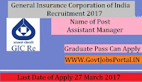 General Insurance Corporation of India Recruitment 2017–Assistant Manager