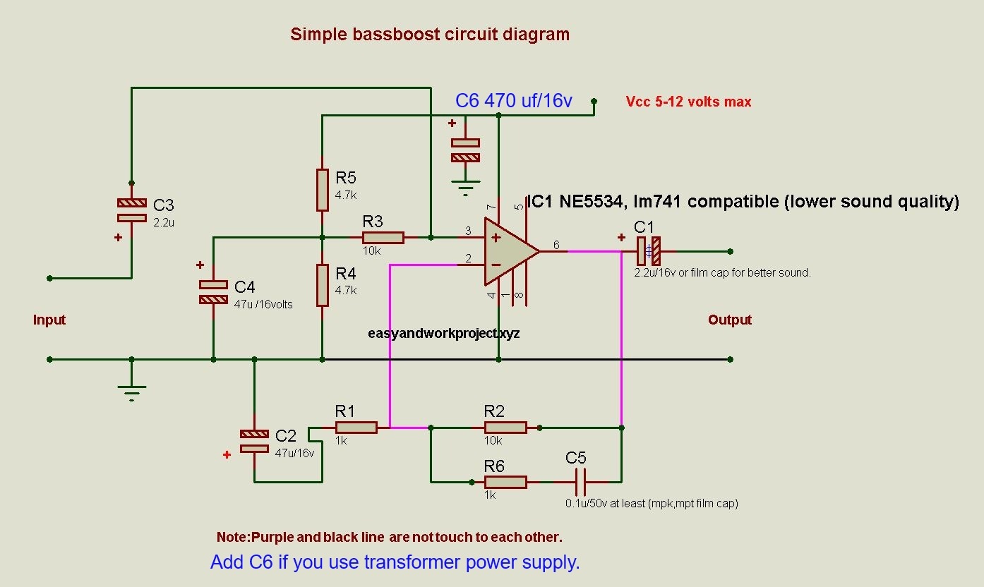 Simple bass booster circuit diagram this bass boost diagram is easy to build and work well i made it because people asked me the schematic diagram of bass boost diagram on my youtube channel ccuart Choice Image