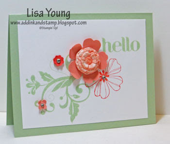 Stampin' Up! Flower Shop stamp set. Handmade card by Lisa Young, Add Ink and Stamp