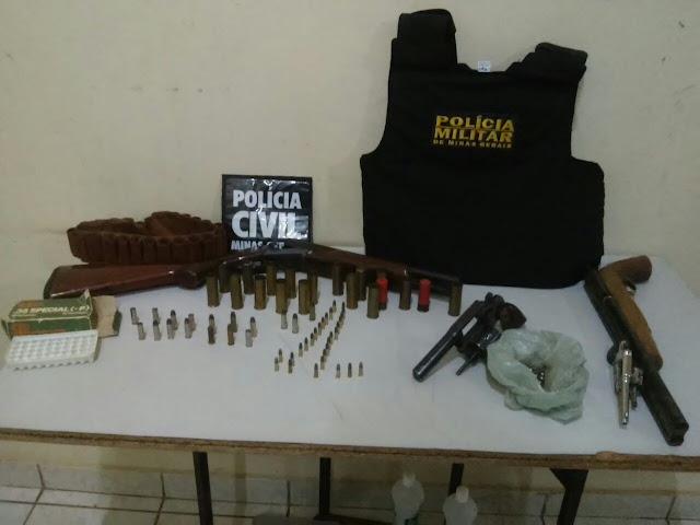 Em operação conjunta, PM e PC apreendem armas de fogo e munições em Águas Vermelhas