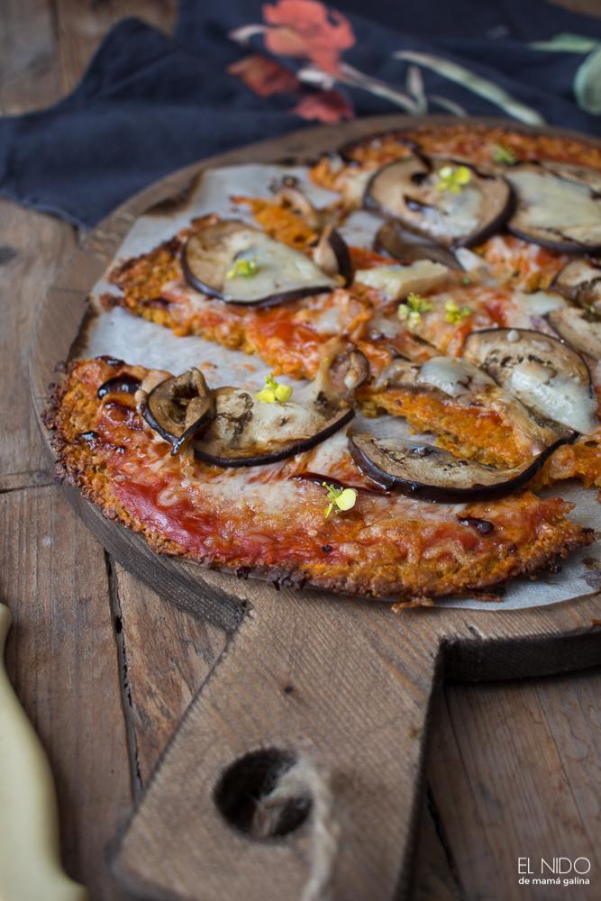 Pizza de boniato con berenjenas