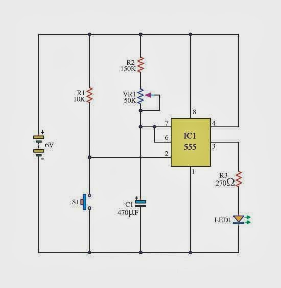 The Basic Delay Timer Circuits using IC-555 ~ schematic simple