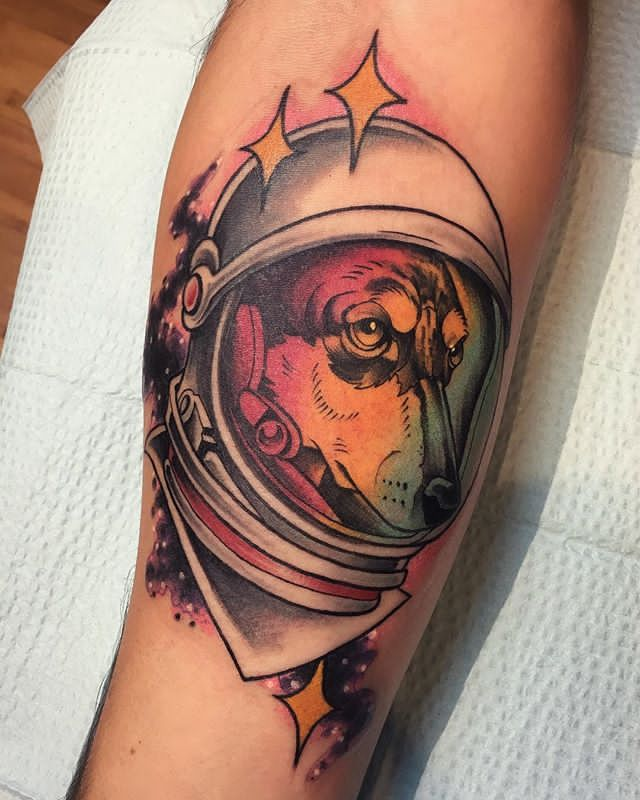 astronaut fire halmet tattoo