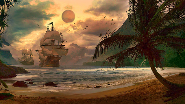 galeoni, caravelle, fantasy, oceano, spiaggia,