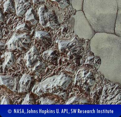 Mountains and plains of Pluto photo from the New Horizons spacecraft
