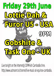 Advert for Lottie Dah, Furor U5, & Gobshite MC at Equinox Phnom Penh, Cambodia