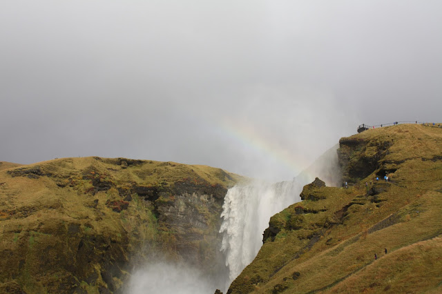 Rainbow above Skogafoss Waterfall in Iceland.