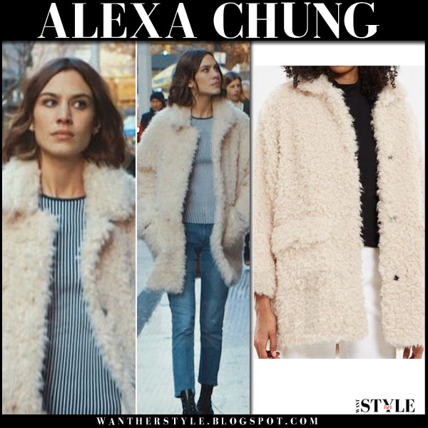 Alexa Chung in cream faux fur coat what she wore winter style
