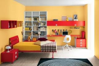 habitación juvenil amarillo naranja