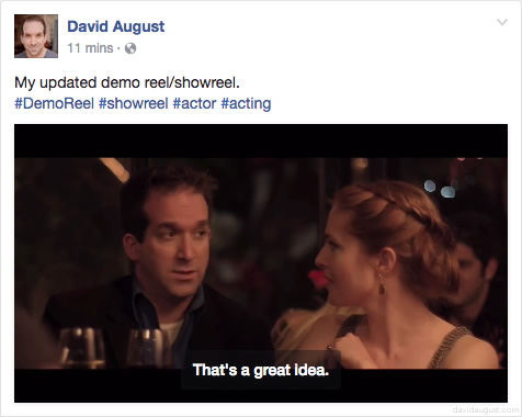 Facebook post of my demo reel on my Facebook page