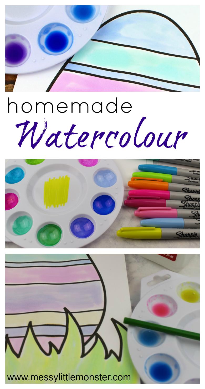 DIY homemade watercolor paint recipe.