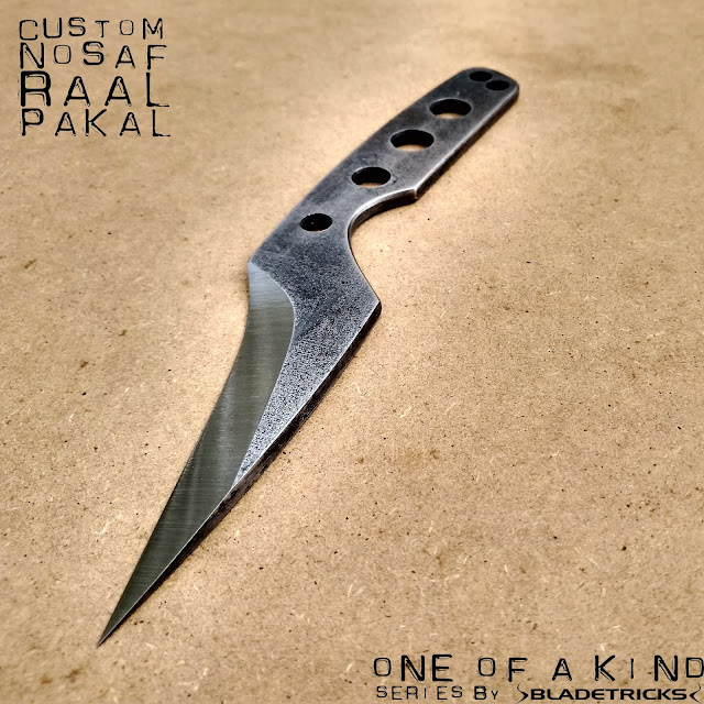 Knife maker Nash Bladetricks Pakal reverse grip edge in Nosaf Raal custom knife