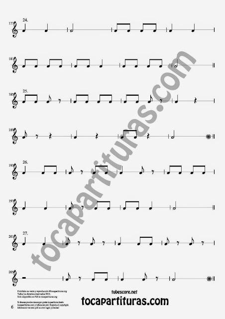 6. 27 Ejercicios Rítmicos para Aprender Solfeo en el Compás de 2/4 Aprender negras, corcheas, blancas y sus silencios. Easy Rithm Sheet Music for quarter notes, half notes, 1/8 notes and silences