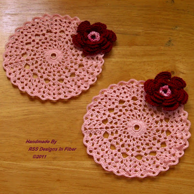 Red Rose on Pink Crochet Coasters - Handmade Crochet By RSS Designs In Fiber