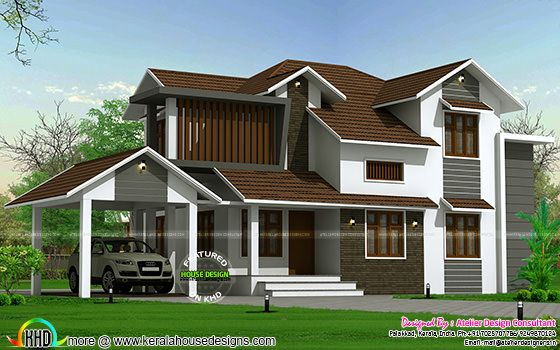Traditional mix sloping roof home