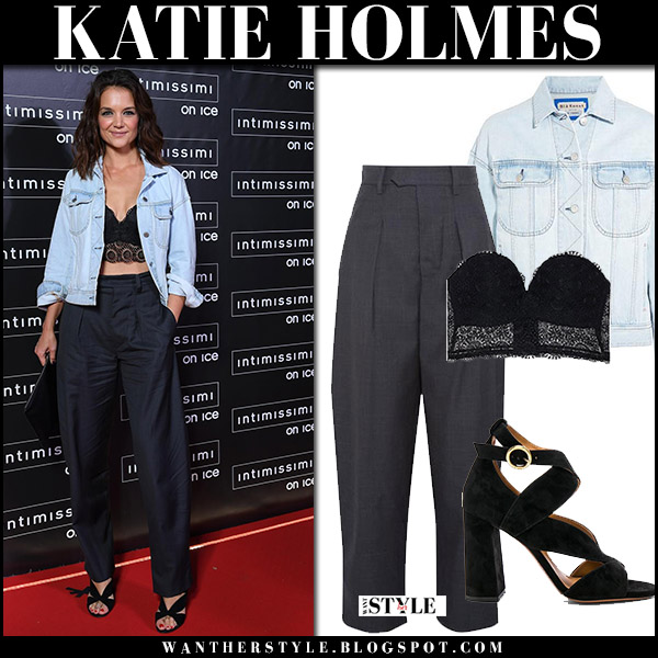 Katie Holmes in denim jacket, black lace bandeau top and black wide leg pants on the red carpet at Intimissimi on Ice october 6 2017 fashion outfit inspiration celebrities