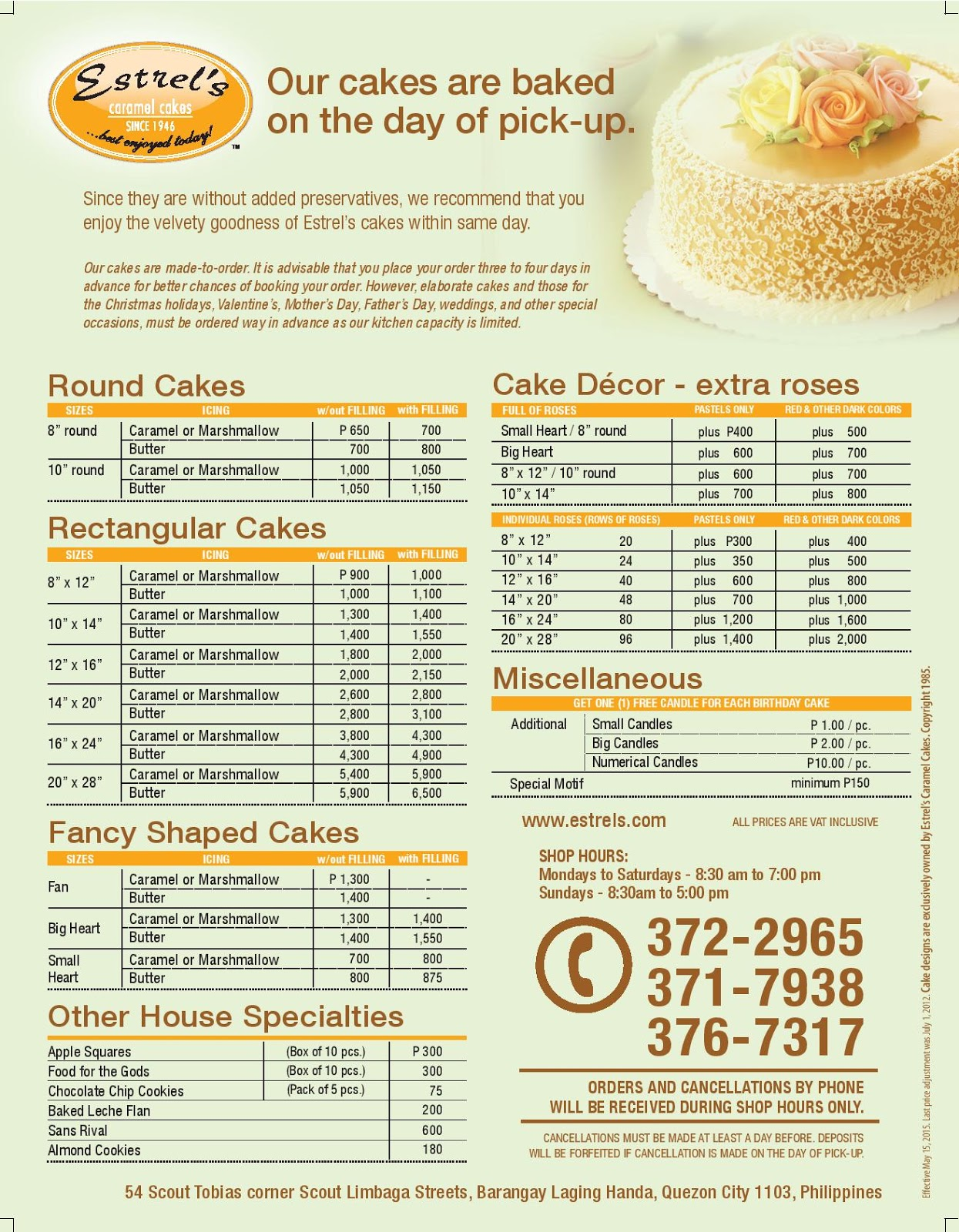 Contis Cake Price Philippines List
