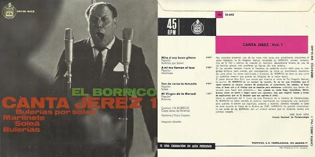 Tío Borrico de Jerez CANTA JEREZ VOL. 1 HISPAVOX 1967 EP