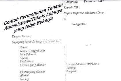 Contoh Surat Lamaran Kerja Non PNS Pemkab Aceh Barat Daya | Contoh Surat Lamaran Kerja Lengkap