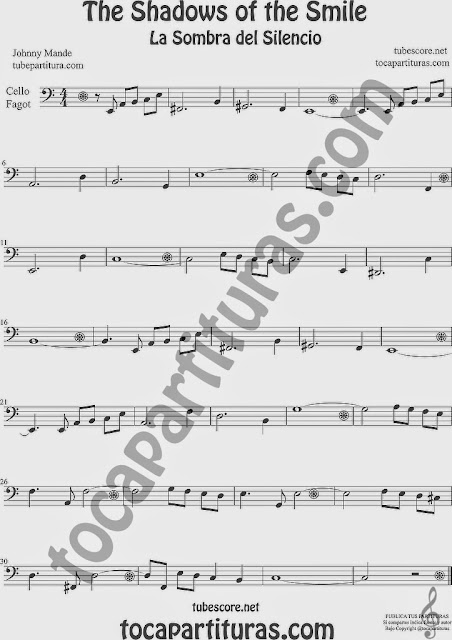 The Shadows of Your Smile Partitura de Violonchelo y Fagot Sheet Music for Cello and Bassoon Music Scores La Sombra de tu Sonrisa