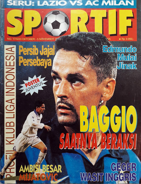 ROBERTO BAGGIO OF INTER MILAN SOCCER MAGAZINE COVER