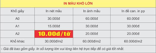 Bảng giá in màu khổ lớn khổ A0 - A1 - A2