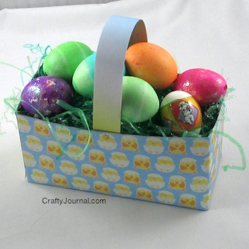 Easter basket made from a cereal box