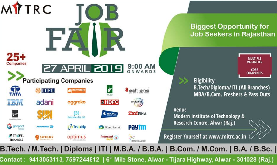 Job Fair Online Registration April 2019 for Freshers | Alwar, Rajasthan