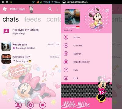 BBM Minnie Mouse (BBM Pink Minne Mouse) Base 3.0.1.25 MOD APK Terbaru Gratis