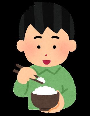 箸でご飯を食べる人のイラスト(男性)